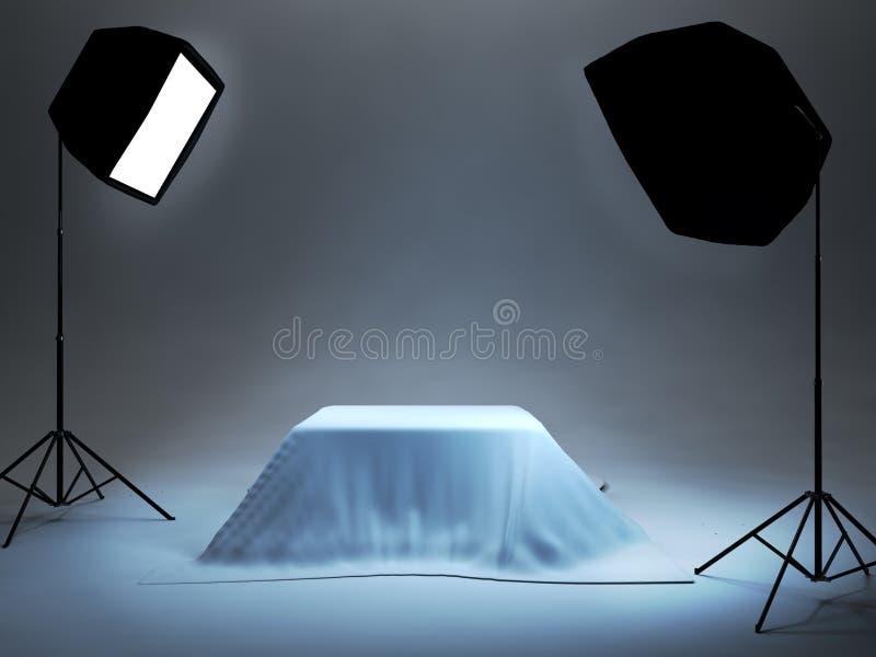 Studio de photo installé pour la pousse de photo d'objet illustration stock