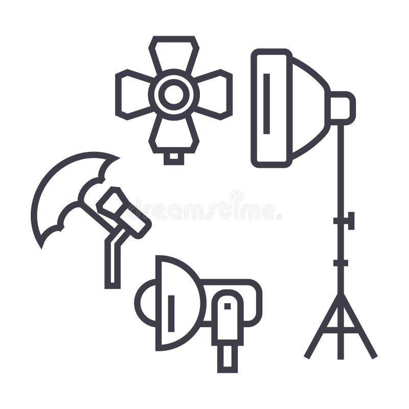 Studio de photo, ligne icône, signe, illustration de vecteur de matériel d'éclairage sur le fond, courses editable illustration stock