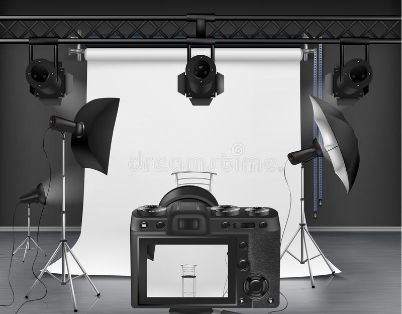 Studio de photo de vecteur avec l'équipement pour la photographie illustration stock