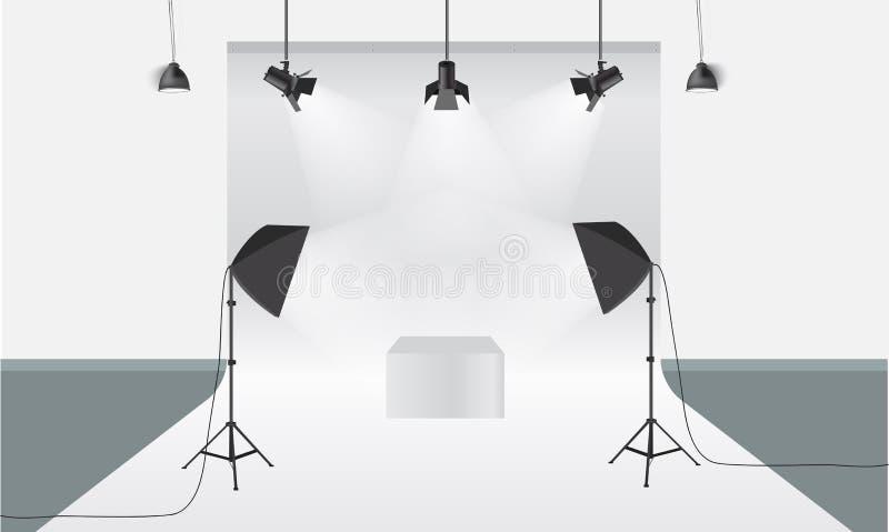 Studio de photographie avec le vecteur de matériel et de contexte d'éclairage Maquette d'affichage illustration libre de droits