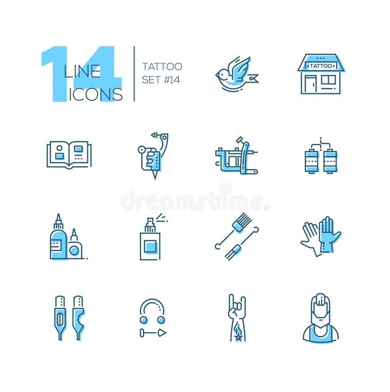 Studio de tatouage - ligne icônes réglées illustration libre de droits