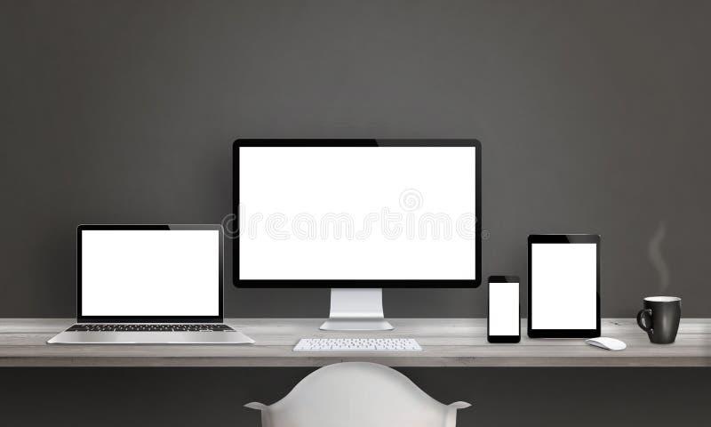 Studio del progettista di web con differenti dispositivi illustrazione vettoriale