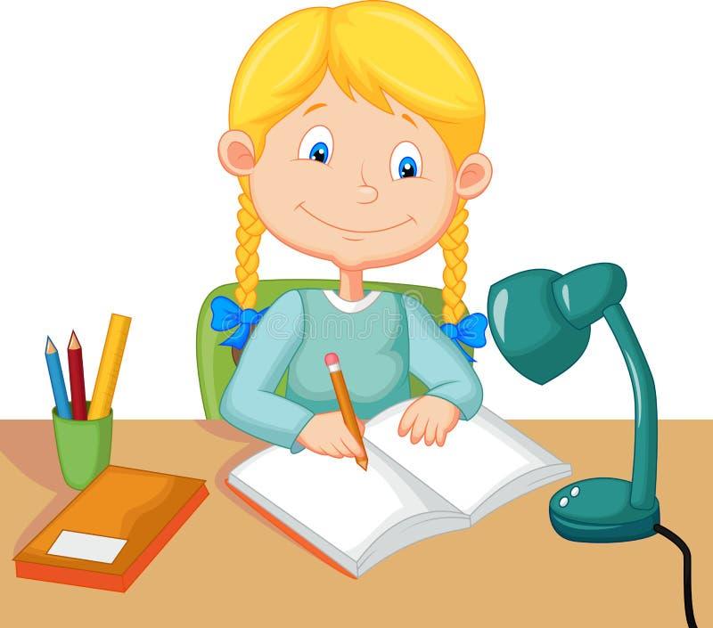Studio della bambina illustrazione vettoriale