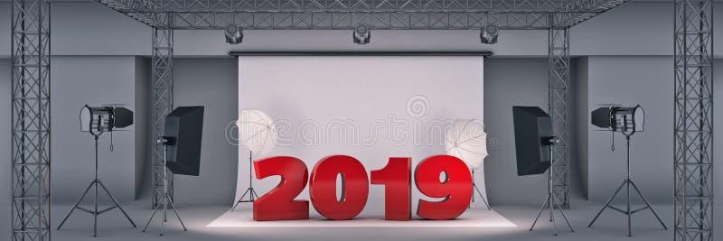 Studio 2019 della foto rappresentazione 3d illustrazione di stock