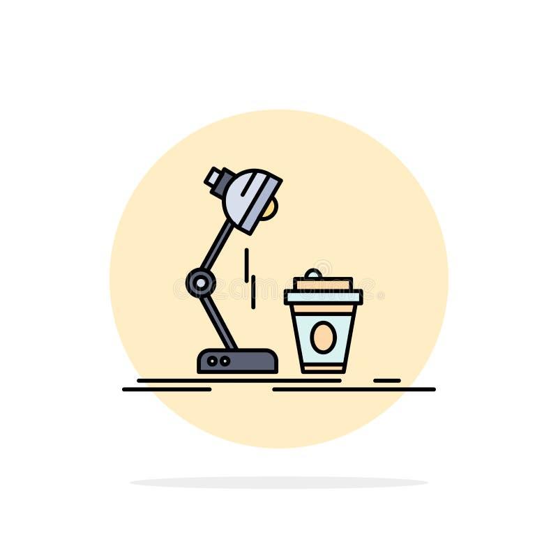 studio design, kaffe, lampa, prålig plan färgsymbolsvektor stock illustrationer