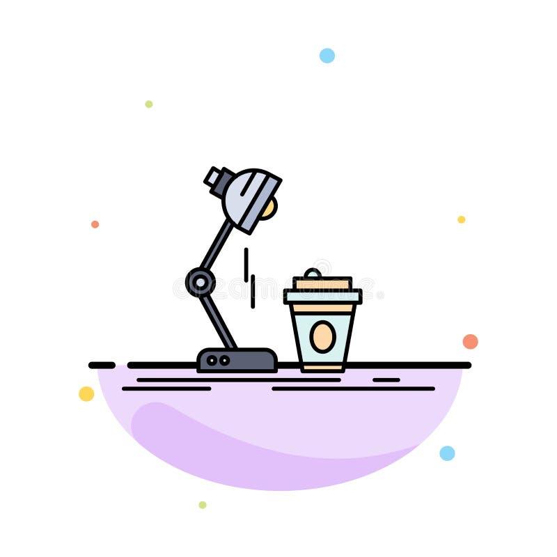 studio design, kaffe, lampa, prålig plan färgsymbolsvektor royaltyfri illustrationer