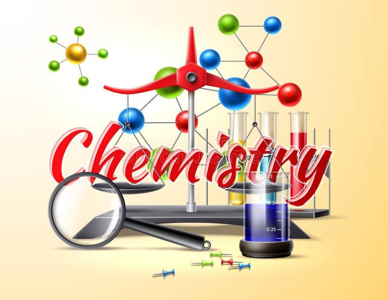 Studio di chimica di vettore alla boccetta del manifesto 3d della scuola illustrazione di stock