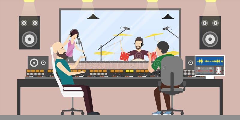 Studio di registrazione di musica illustrazione di stock