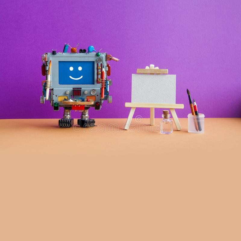 Studio drawing visual arts poster template. Smiley robot with artist tools, wooden easel, palette brushes pencils. Violet wall, brown floor background. Empty stock images