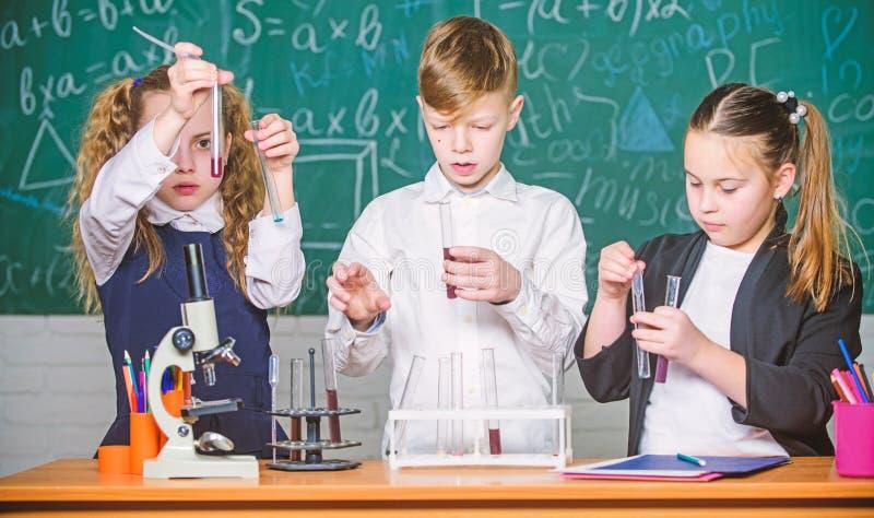 Studio duro Microscopio del laboratorio Il giorno dei bambini Microscopio di chimica studenti che fanno gli esperimenti di biolog immagini stock libere da diritti