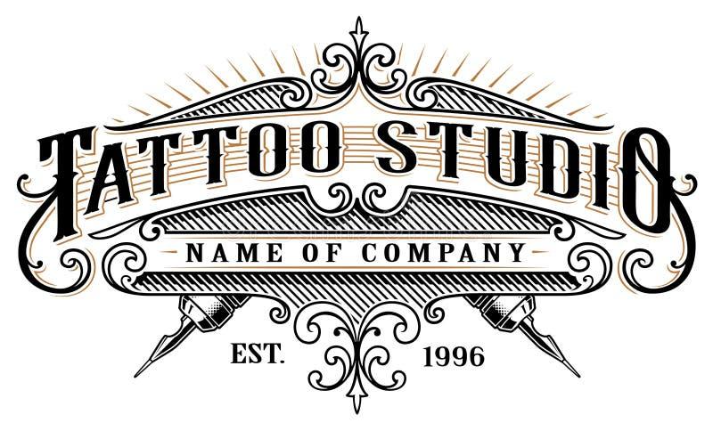 Studio emblem_2 de tatouage de vintage pour le fond blanc illustration stock