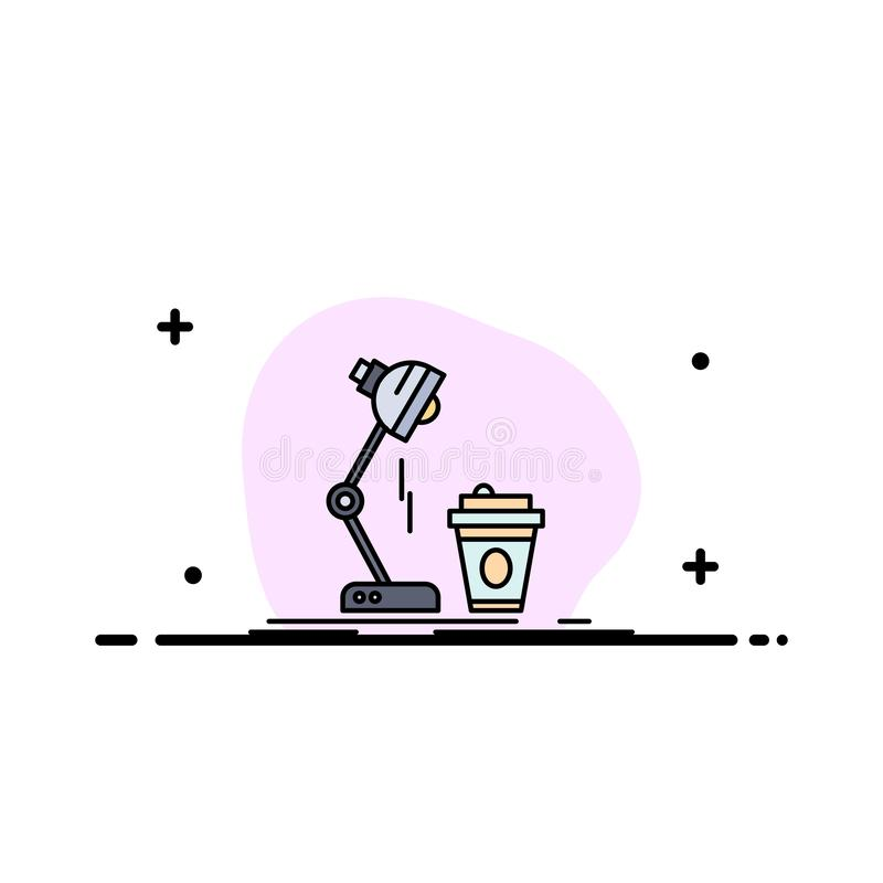Studio, Entwurf, Kaffee, Lampe, greller flacher Farbikonen-Vektor stock abbildung
