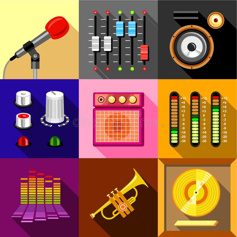 Studio equipment icons set, flat style stock illustration