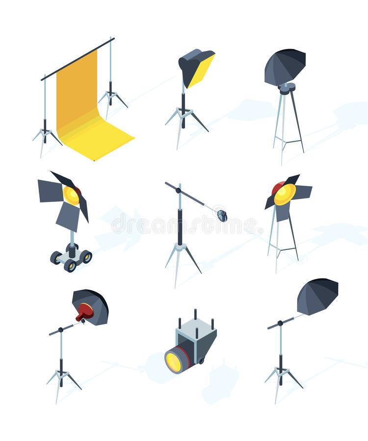 Studio equipment isometric. Photo or tv production tools spotlights softbox directional light umbrella tripod vector. Pictures. Illustration of screen projector royalty free illustration