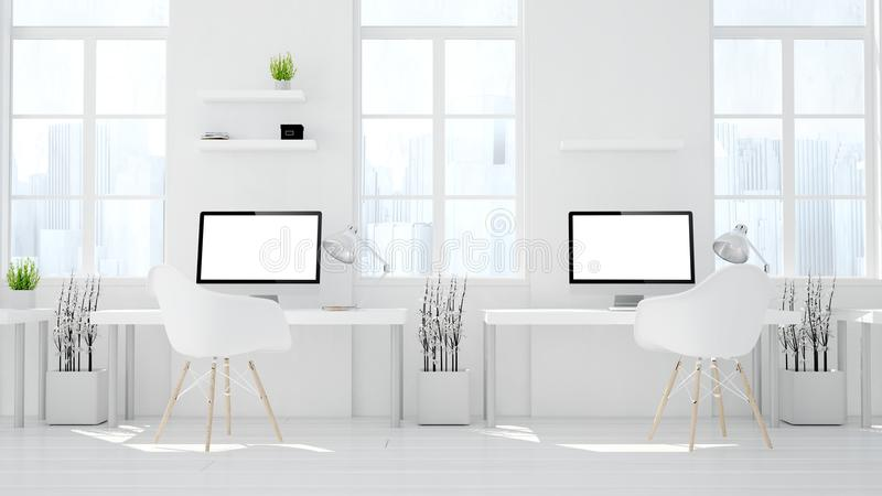 studio för två datorer som coworking stock illustrationer