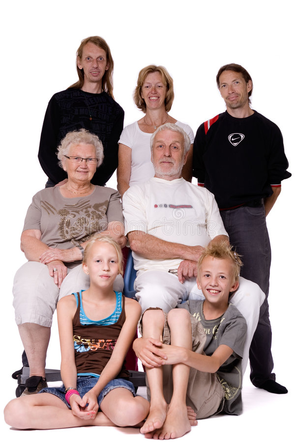 Studio family portrait of a crazy bunch royalty free stock images