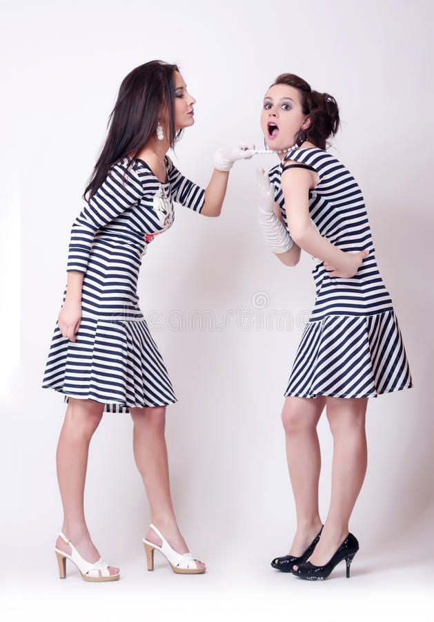 Free Studio Fashion Image Of Two Beautiful Girl Stock Photos - 19691263