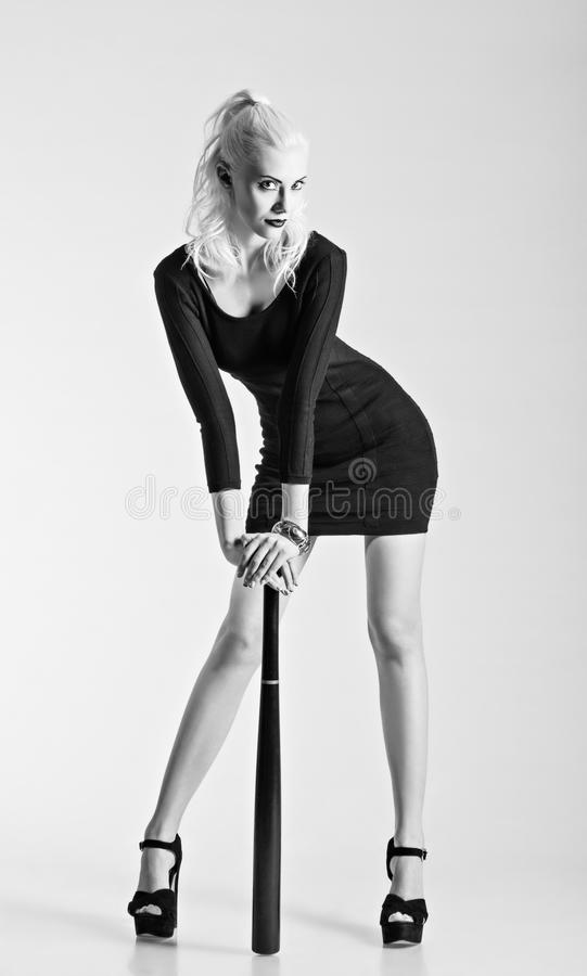 Download studio fashion shot girl in black dress with baseball bat black and