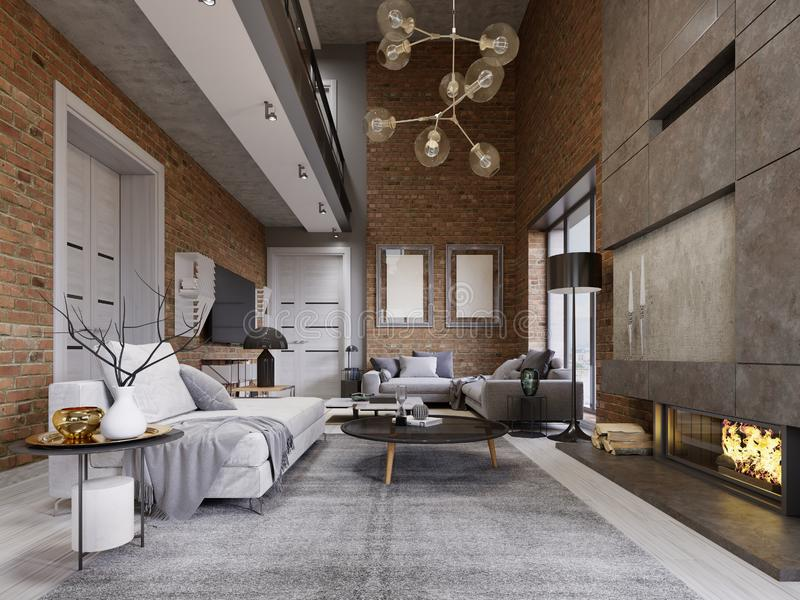 Studio flat with brick wall and fireplace and modern furniture stock illustration