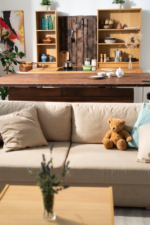 Studio flat with furniture stock photo