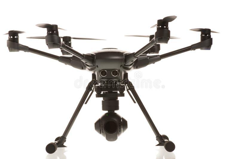 Studio geïsoleerde foto van heksacopterhommel royalty-vrije stock fotografie