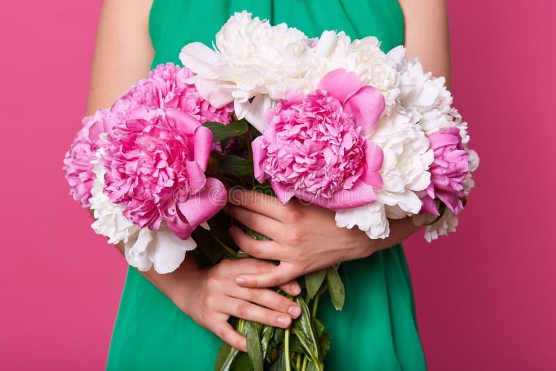 Studio haut étroit tiré du bouquet énorme des pivoines de fleurs, blanches et roses fleurissant, groupe inconnu de participation  photographie stock