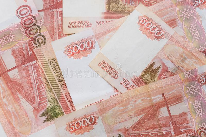 Studio image 5000 rubles. five thousand cash of the Russian Federation macro Russian currency. Red note stock photography