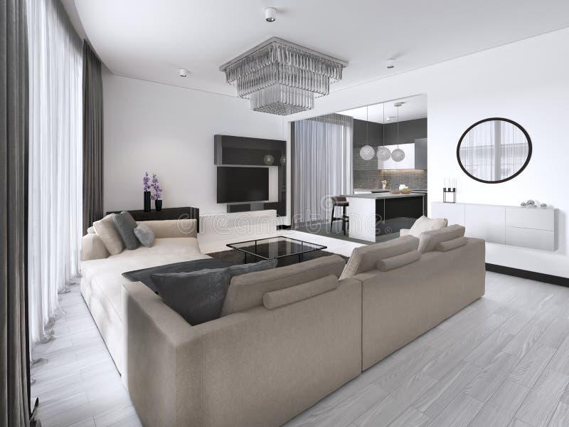 Studio interno dell'appartamento spazioso con stile scandinavo, pranzare e la cucina della parete bianca illustrazione vettoriale