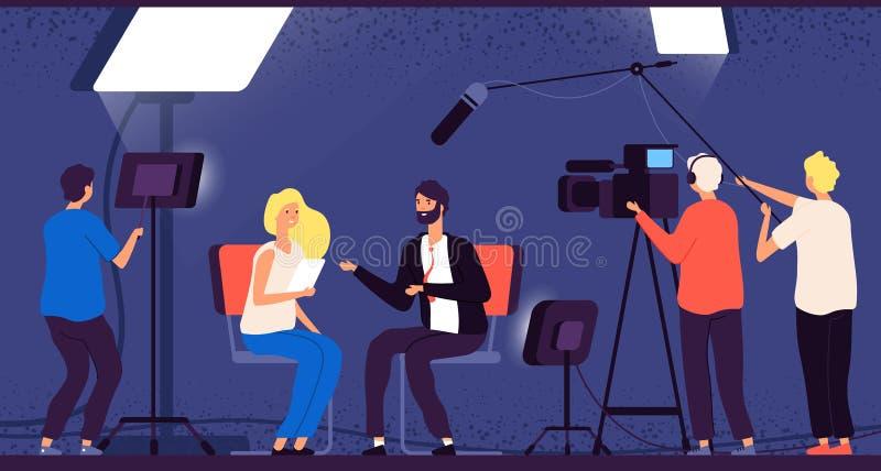 Studio interview. Host journalist tv broadcasting camera professional crew cameraman television interview reporter. Vector concept. Newscaster news, cameraman stock illustration