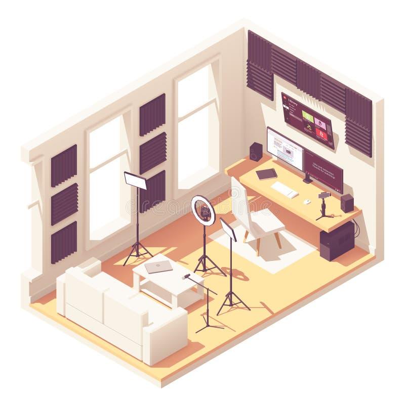 Studio isometrico di blogger di vettore video illustrazione vettoriale