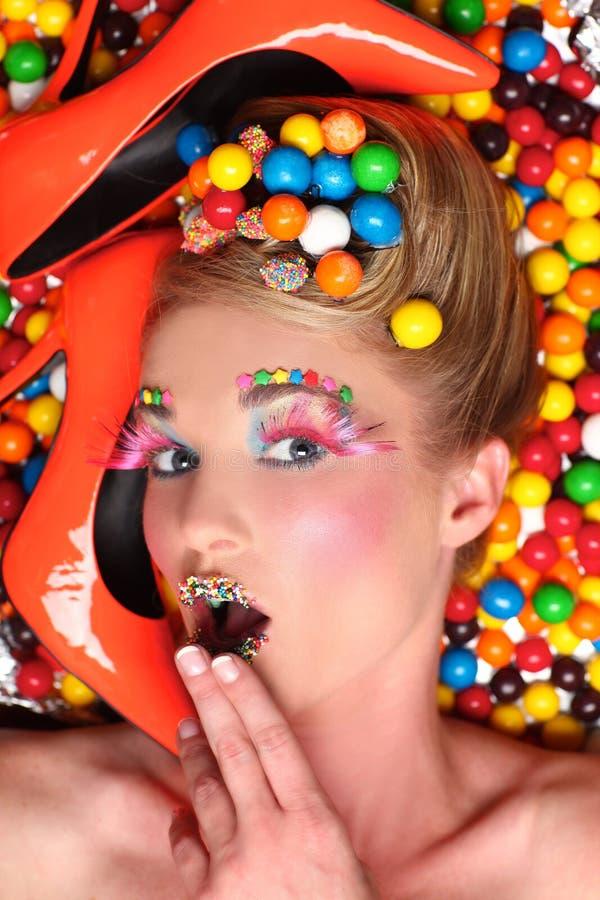 Studio-kreative Süßigkeit-themenorientierter Eintragfaden stockfotografie