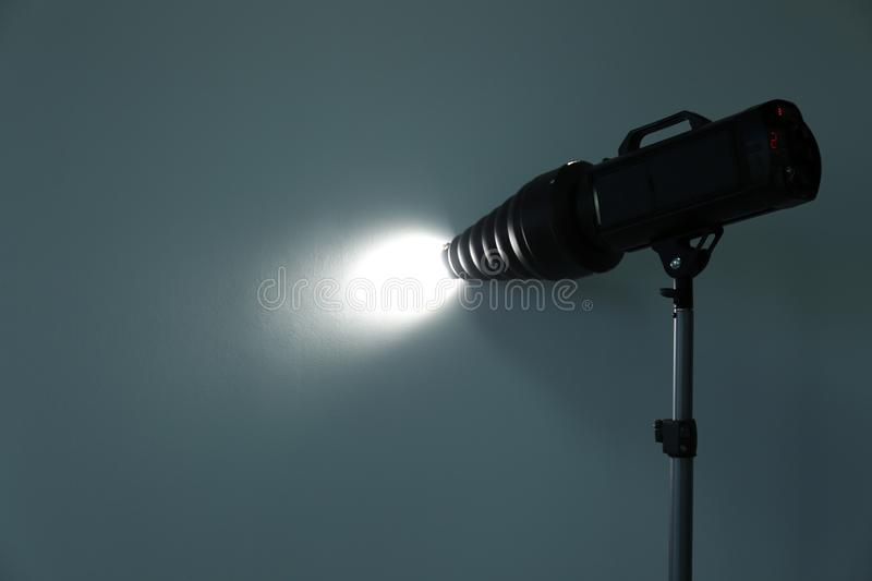 Studio lighting against gray background royalty free stock image