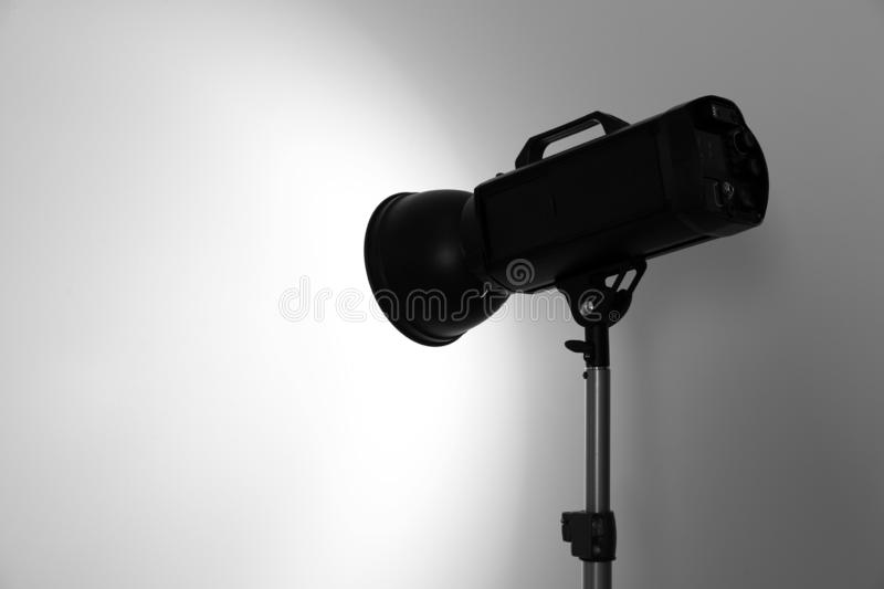 Studio lighting against white background stock image