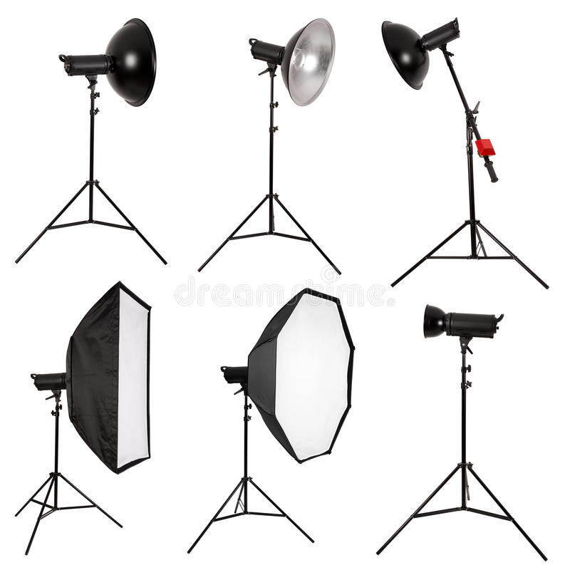 Studio lighting isolated on white stock photography