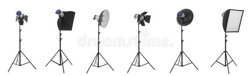 Studio lights on white stock image