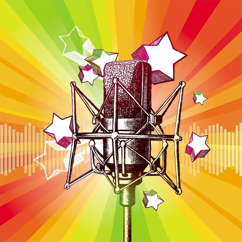 Studio microphone. Vector hand drawn microphone vector illustration