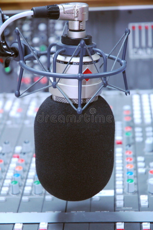 Studio microphone and editing suite stock images