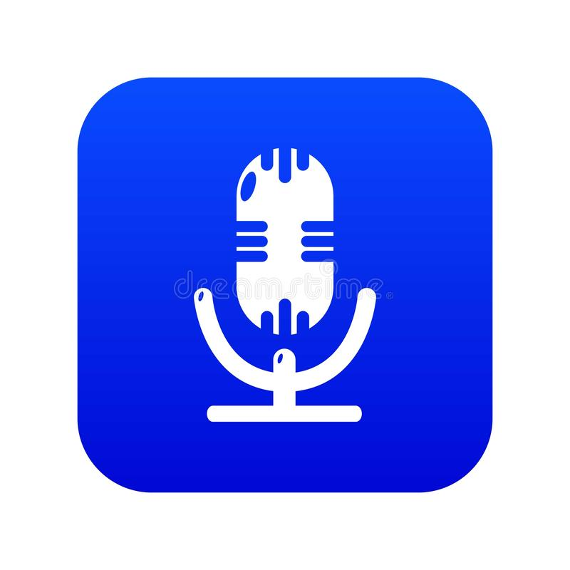 Studio microphone icon blue vector. Isolated on white background vector illustration