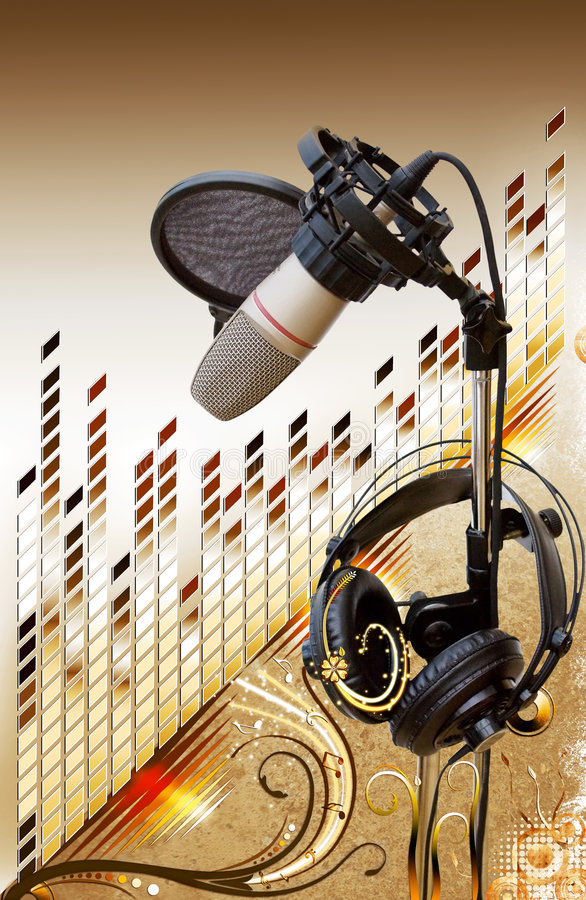 Free Studio Microphone With Equalizer Over Floral Stock Image - 6519541