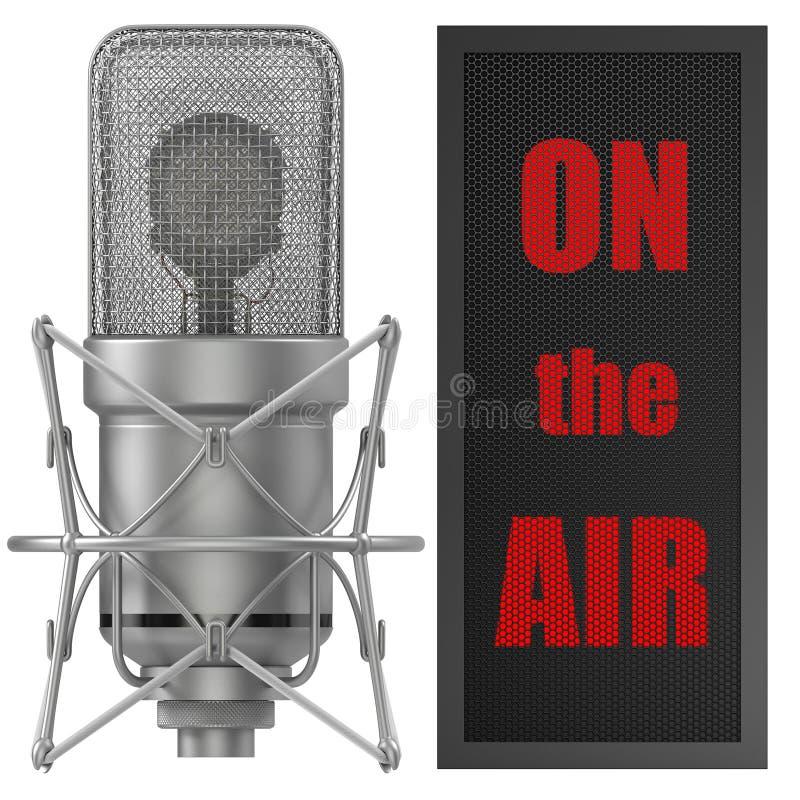 Studio-Mikrofon mit auf Luftzeichen, für den Rundfunk vektor abbildung