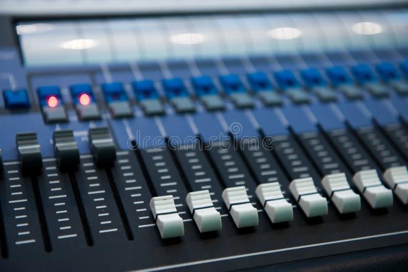 Studio mixer. Closeup of a studio mixer royalty free stock photography