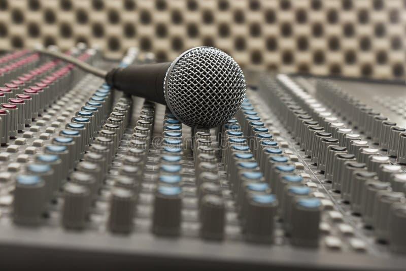 Studio Mixer and Microphone stock photo