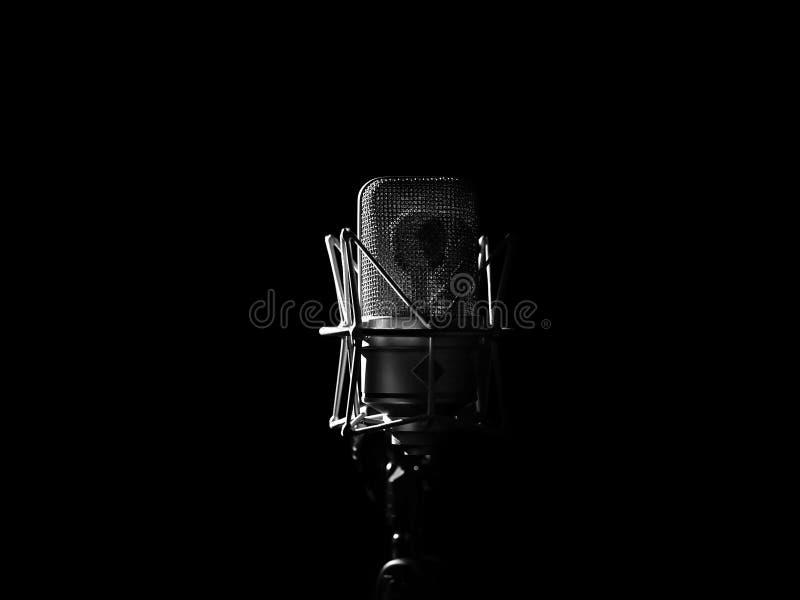 Studio-Musik-Mikrofon-Abschluss oben im soliden Tonstudio lizenzfreie stockbilder