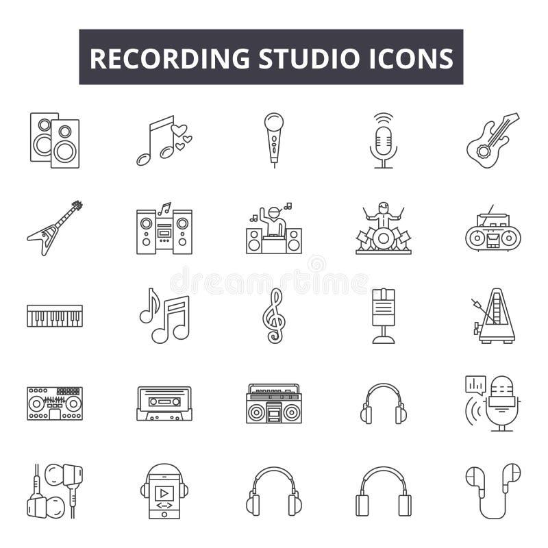 Studio nagrań kreskowe ikony, znaki, wektoru set, kontur ilustracji pojęcie royalty ilustracja