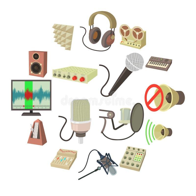 Studio nagrań symboli/lów ikony ustawiać, kreskówka styl royalty ilustracja