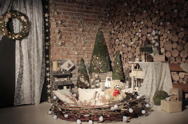 Studio naturel d'arbre de nouvelle année photographie stock libre de droits