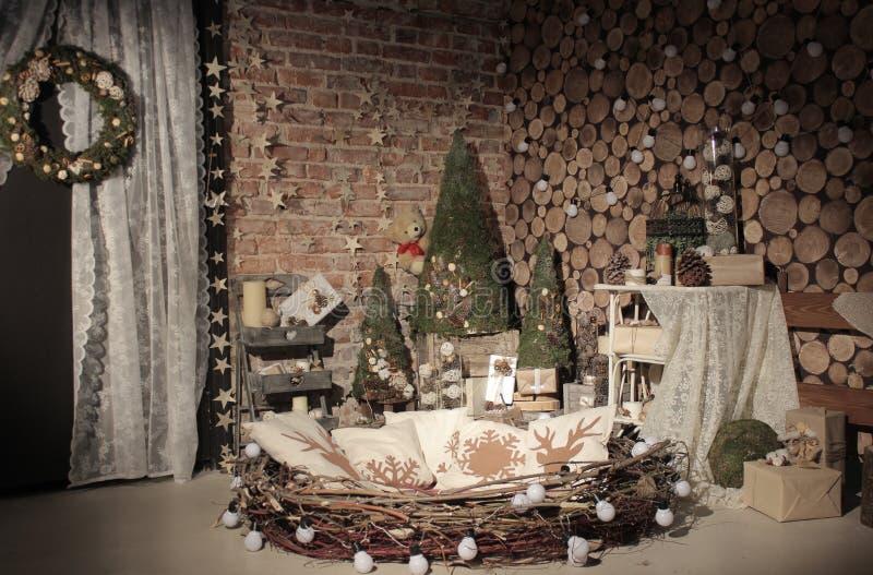 Studio naturel d'arbre de nouvelle année photo stock