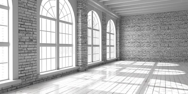Studio o ufficio vuoto bianco nello stile del sottotetto illustrazione di stock