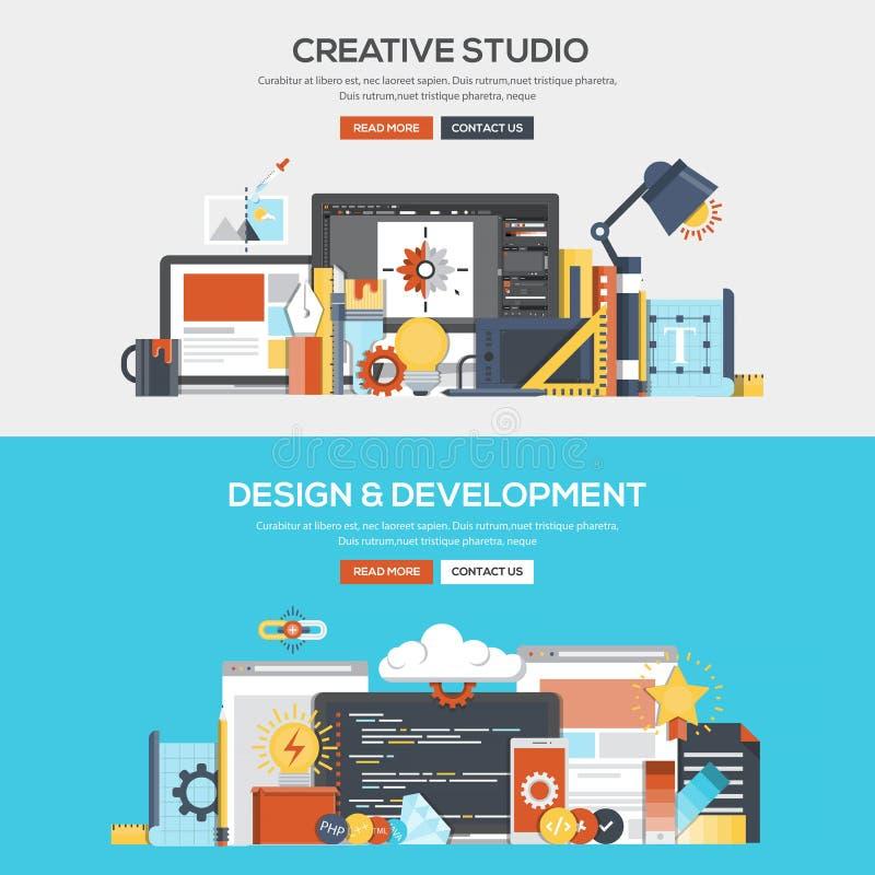 Studio och utveckling för plant baner för designbegrepp idérik royaltyfri illustrationer
