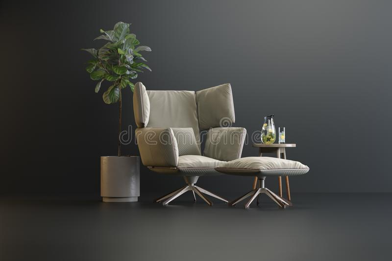 Studio pedestal of interior elements stock illustration
